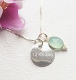 KAYA jewellery Silver Disc Charm Handwriting 16x16 mm