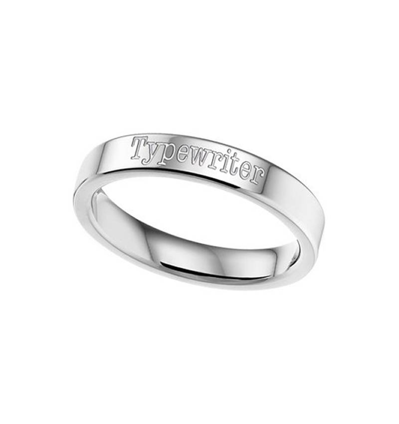 KAYA jewellery Text Ring 6mm Steel engraving
