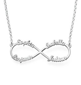 """KAYA jewellery Silver Infinity necklace with four names, """"sweet mom gift!"""""""