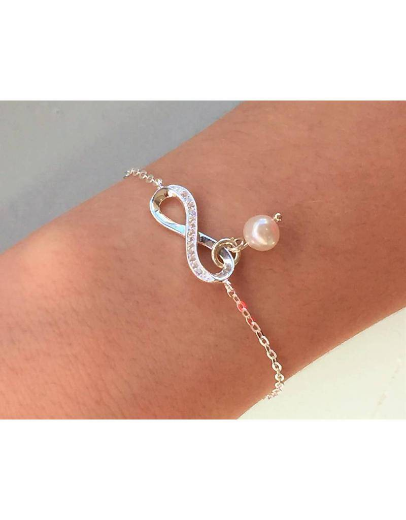 """silver jewellery Silver Baby Bracelet """"You are loved for infinity with pearl"""""""