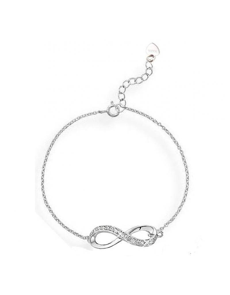 "KAYA jewellery Silver Baby Bracelet ""You are loved for infinity with pearl"""