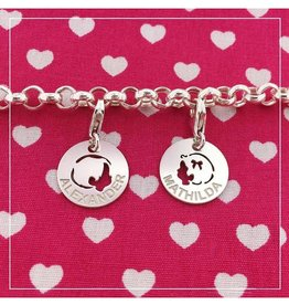 KAYA jewellery Jasseron Silver Bracelet with Two Engraved Charms