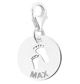 Engraved jewellery Names4ever Engraved silver charm 'Baby Feet'
