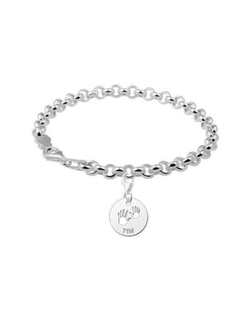 Engraved jewellery Engraved silver charm 'Baby Hands'
