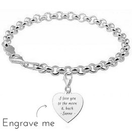 Engraved jewellery Names4ever Silver jasseron bracelet ★to the moon & back★ Names4ever