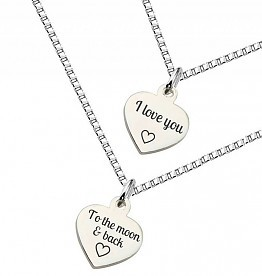 KAYA jewellery Silver Mum & Me necklace 'Love you to the Moon'