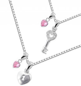 KAYA jewellery Silver & Pink Mum & Me necklace 'Key to my Heart'