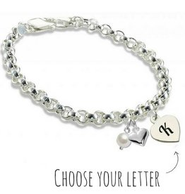 KAYA jewellery Silver Jasseron Bracelet 'Initial' with heart & pearl