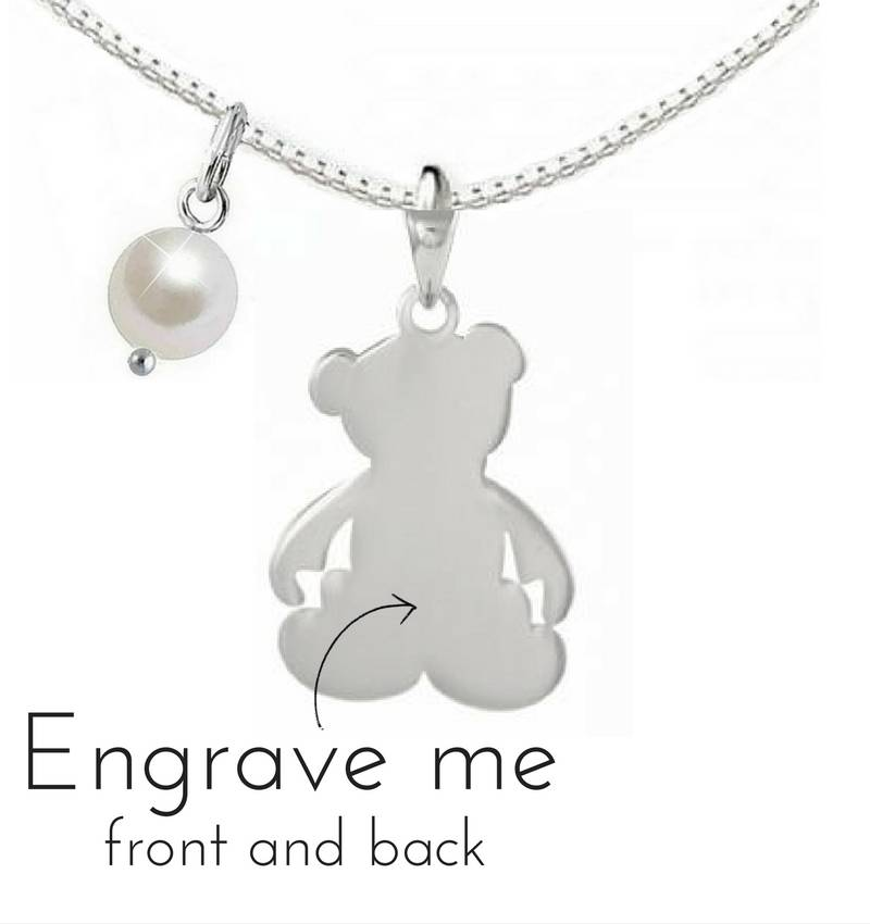 "Engraved jewellery Silver necklace ""Bear"" with first name engraving"