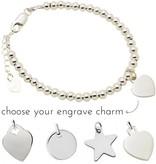 Engraved jewellery Silver bracelet 'Cute Balls'