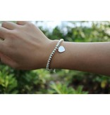 Engraved jewellery Silver bracelet 'Cute Balls' with Charm & Pearl