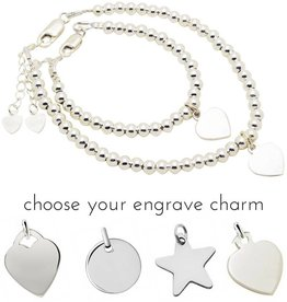 Engraved jewellery Silver bracelets set 'Cute Balls' With Charms