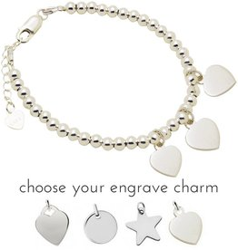 Engraved jewellery Silver bracelet 'Cute Balls' With Three Engraving Charms
