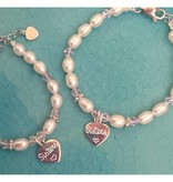 Engraved jewellery Personalized Mother and Daughter Set (Silver Charm)