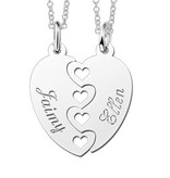 Engraved jewellery Silver friendship necklaces for 2