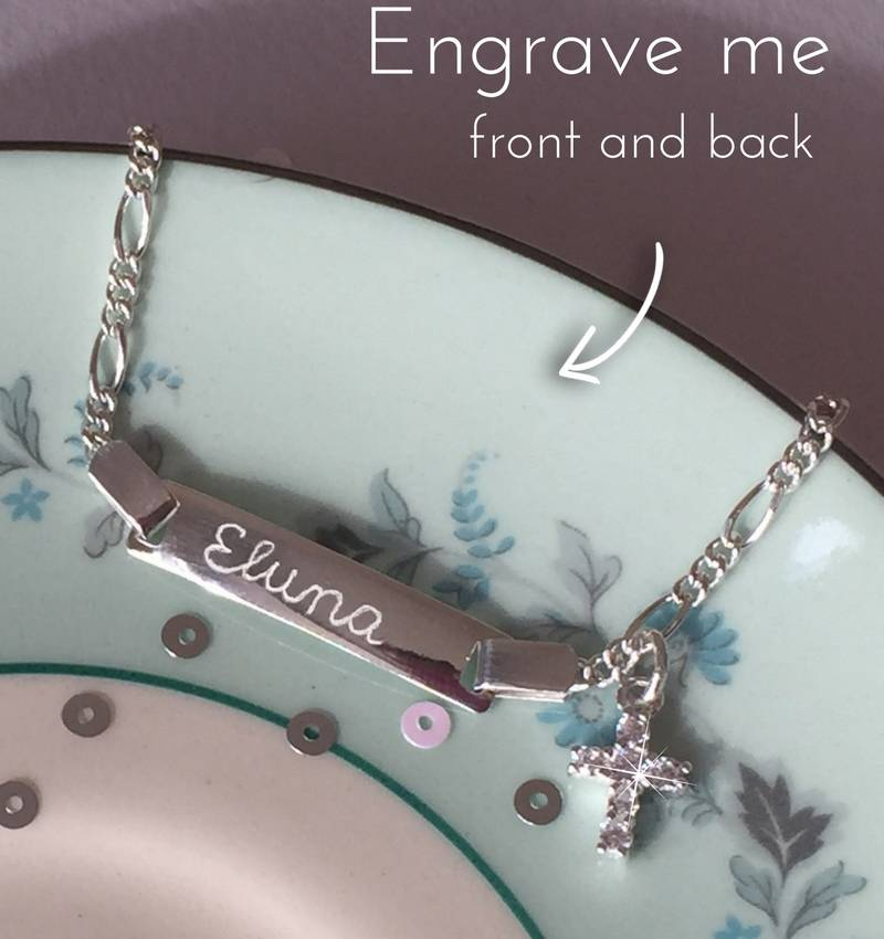 Engraved jewellery Baptism Bracelet 'Cute' with Engraving and Cross Charm