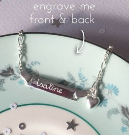 Engraved jewellery Silver bracelet 'Cute' with Engraving and Heart Charm