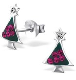 KAYA jewellery Children's Silver Christmas Tree Ear Studs with Crystal