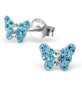 silver jewellery Children's Silver Butterfly Ear Studs with Blue Crystal
