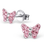 silver jewellery Children's Silver Butterfly Ear Studs with Pink Crystal