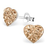 silver jewellery Children's Silver Heart Ear Studs with Crystal