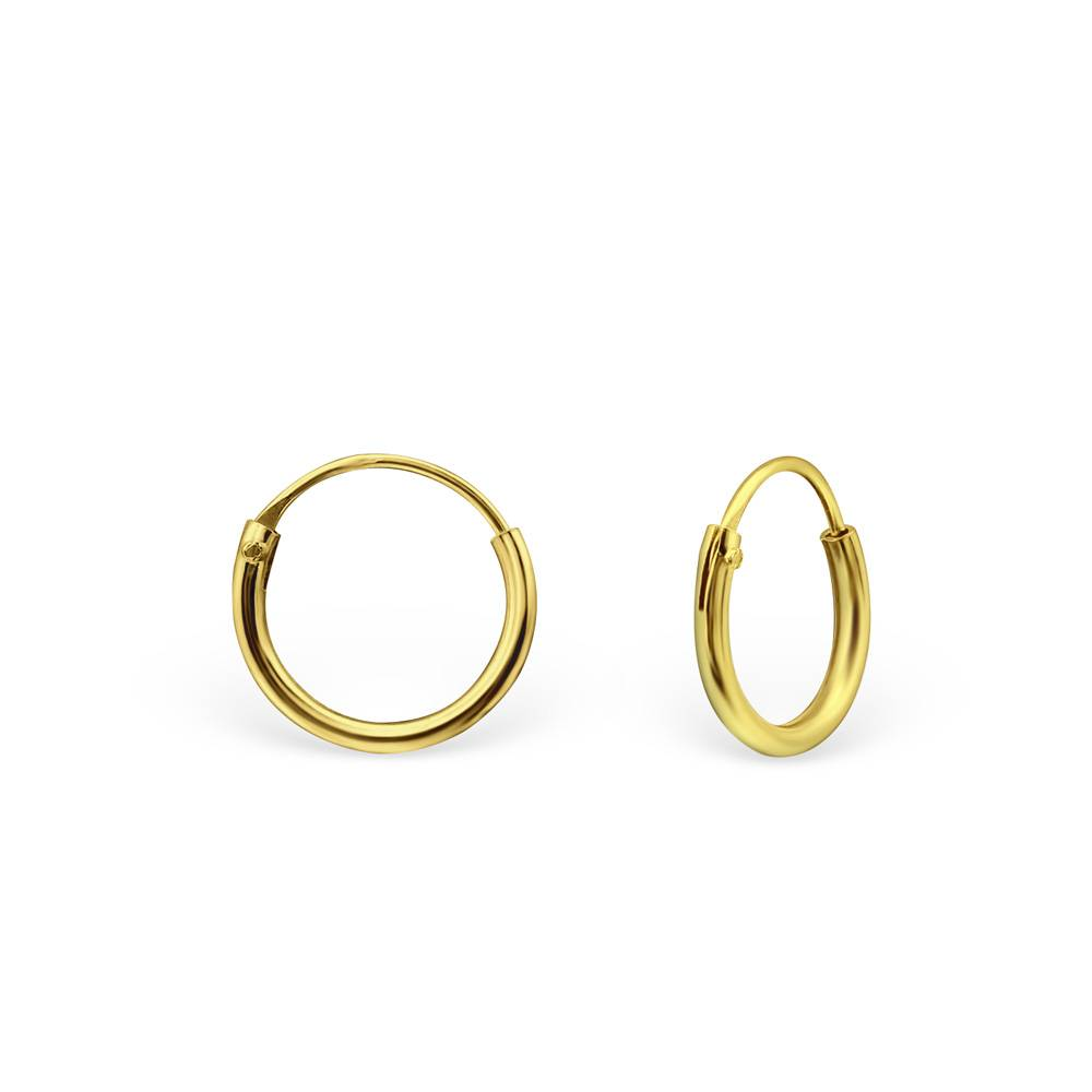 silver jewellery Gold Plated Silver Ear Hoops