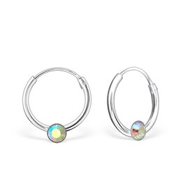 KAYA jewellery Single Stone Crystal Silver Ear Hoops