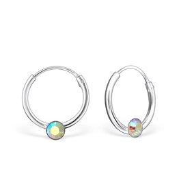 silver jewellery Single Stone Crystal Silver Ear Hoops