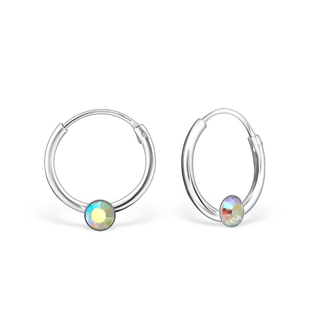 KAYA jewellery Single Stone Crystal Silver Ear Hoops