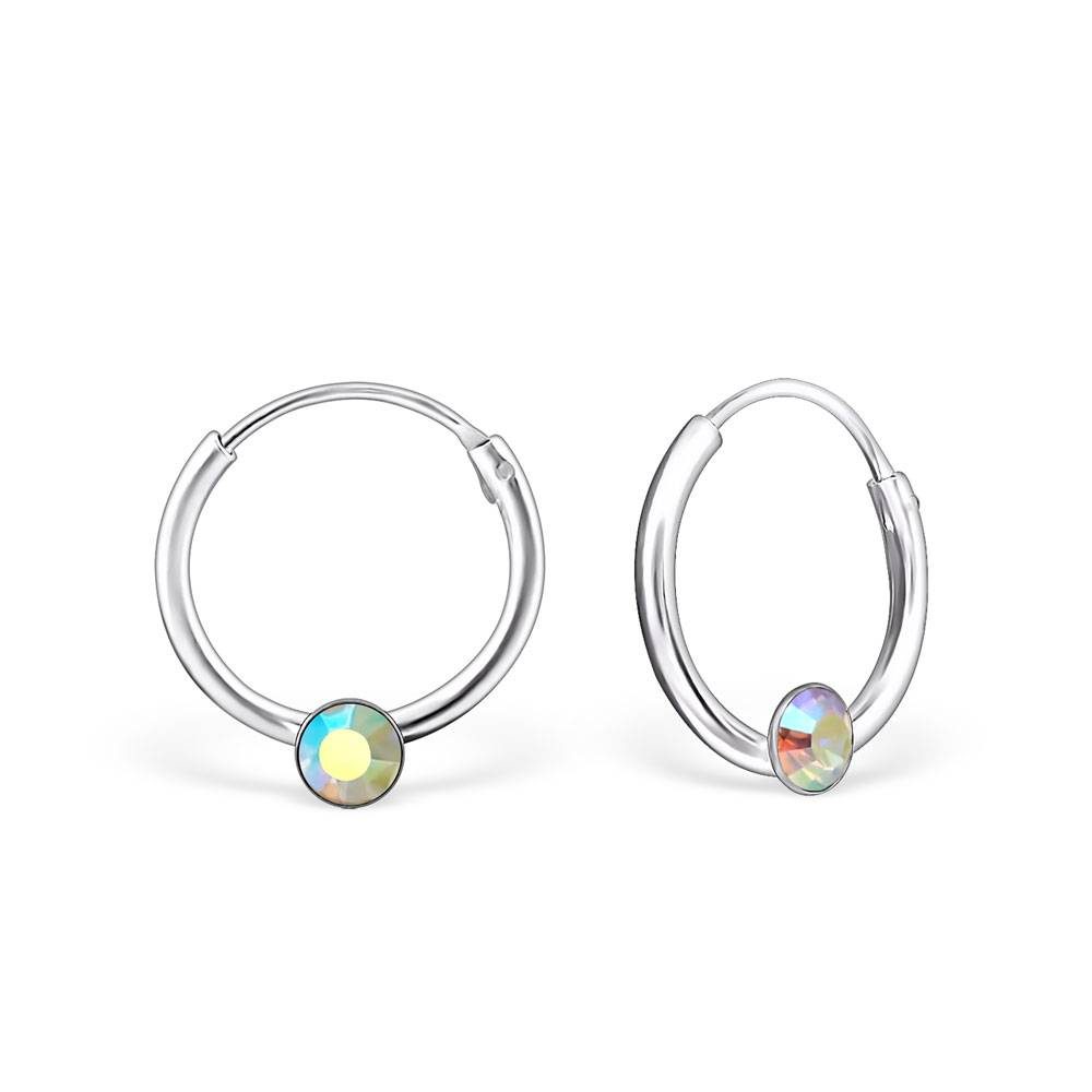 silver jewellery Single Stone Crystal Silver Ear Hoops