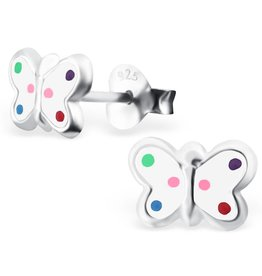 silver jewellery Children's Silver Butterfly Ear Studs with Epoxy