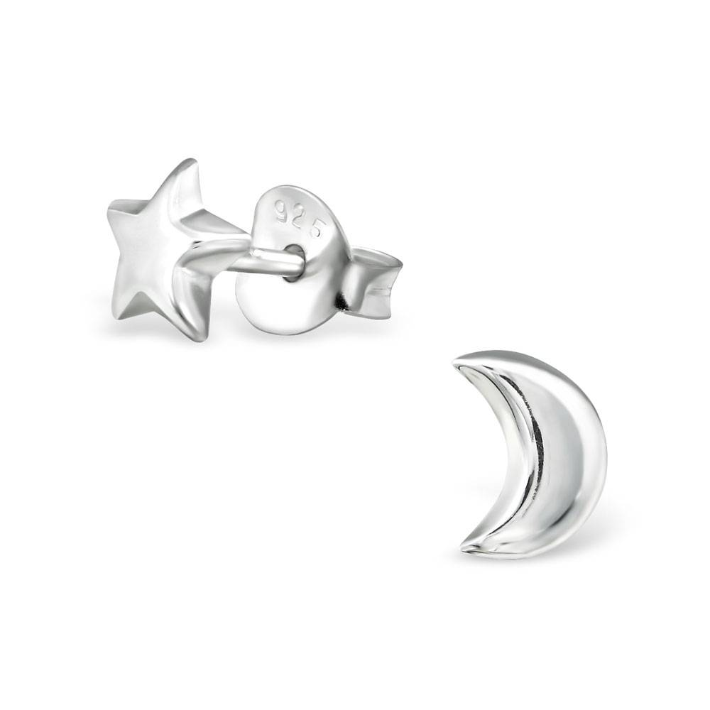 silver jewellery Silver Star and Moon Ear Studs