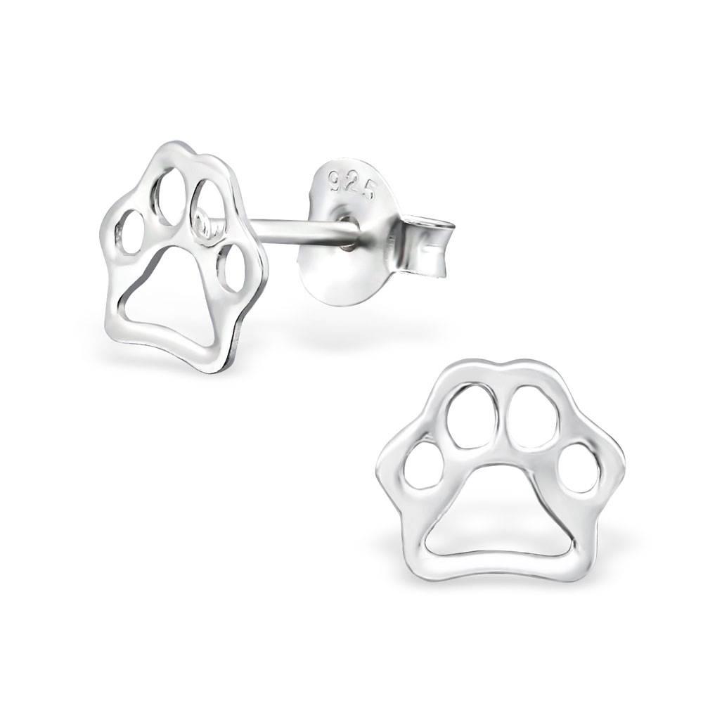 silver jewellery Children's Silver Paw Print Ear Studs