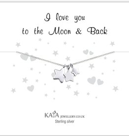 KAYA jewellery Gift Box Silver Necklace 'I Love You To The Moon & Back'