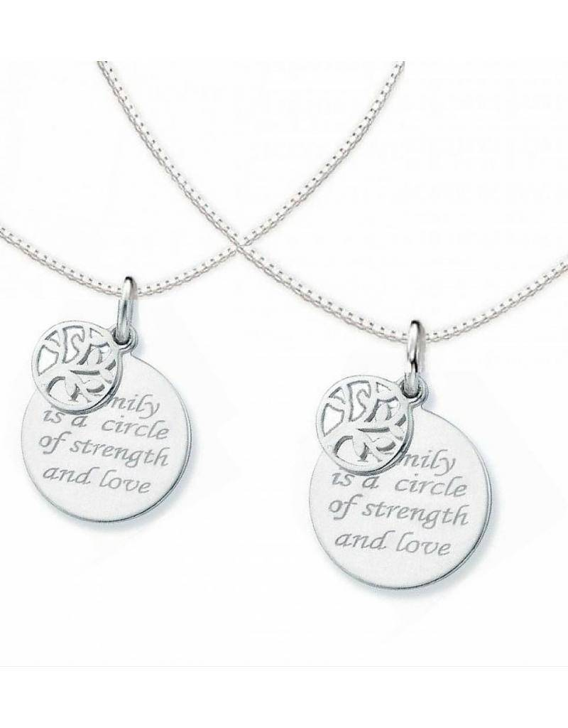 """silver jewellery Two chains """"Family is a Circle"""""""
