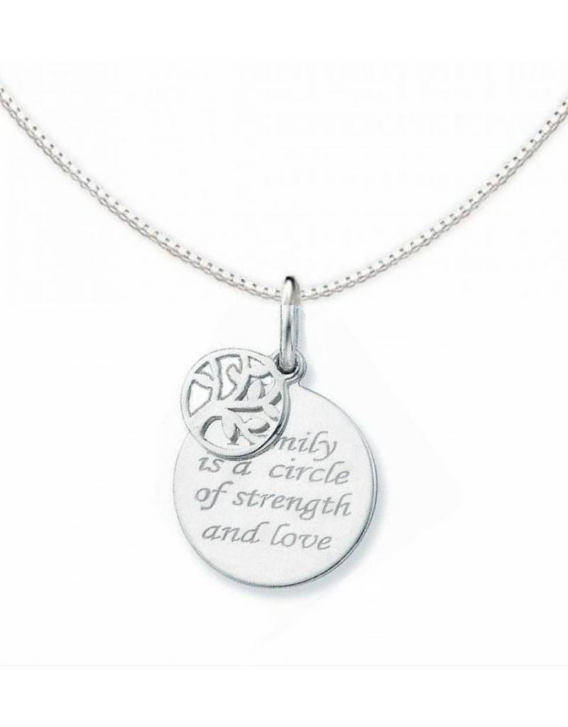 """silver jewellery Silver necklace """"Family is a circle of strength and love"""""""