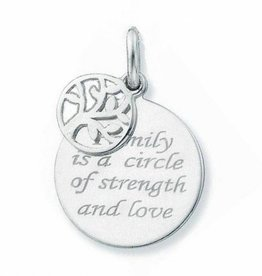 "silver jewellery Silver Pendant ""Family is a Circle '16mm"
