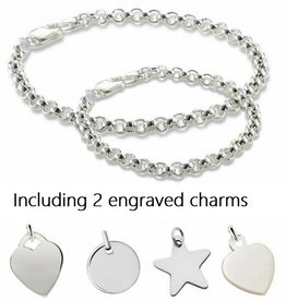 silver jewellery Silver bracelets set with two engraved charms