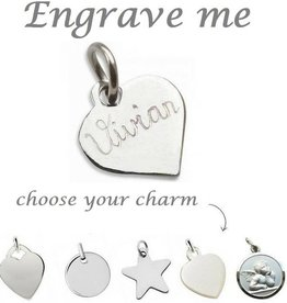 KAYA jewellery Silver Engraved Charm - Extra Personal