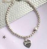KAYA jewellery Silver bracelets set 'Cute Balls & Heart' with engraving