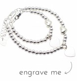Engraved jewellery Silver bracelets set 'Cute Balls & Heart' with engraving