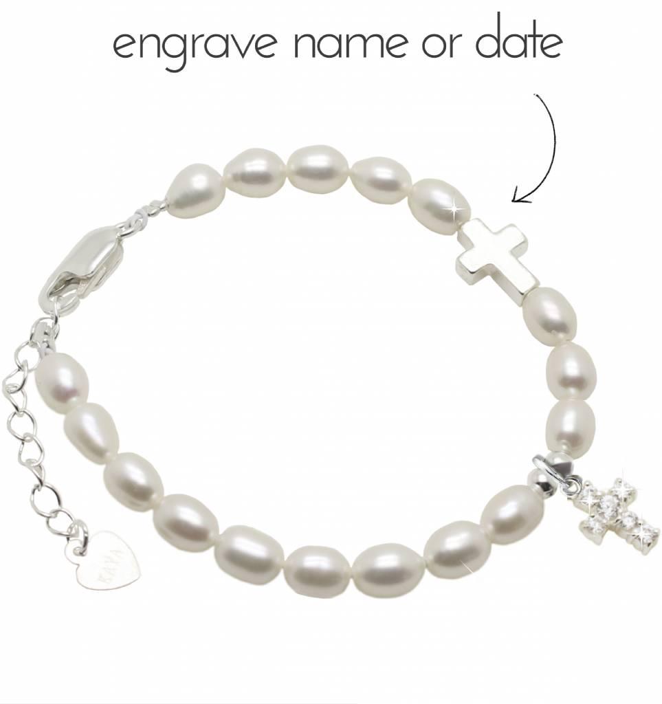 Engraved jewellery Silver freshwater pearl bracelet 'Crystal Cross'