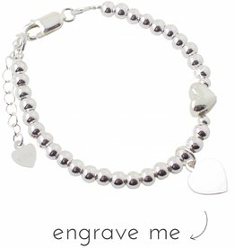 Engraved jewellery Silver bracelet 'Cute Balls' with engraved charm
