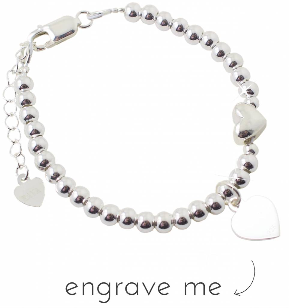 KAYA jewellery Silver bracelet 'Cute Balls' with engraved charm