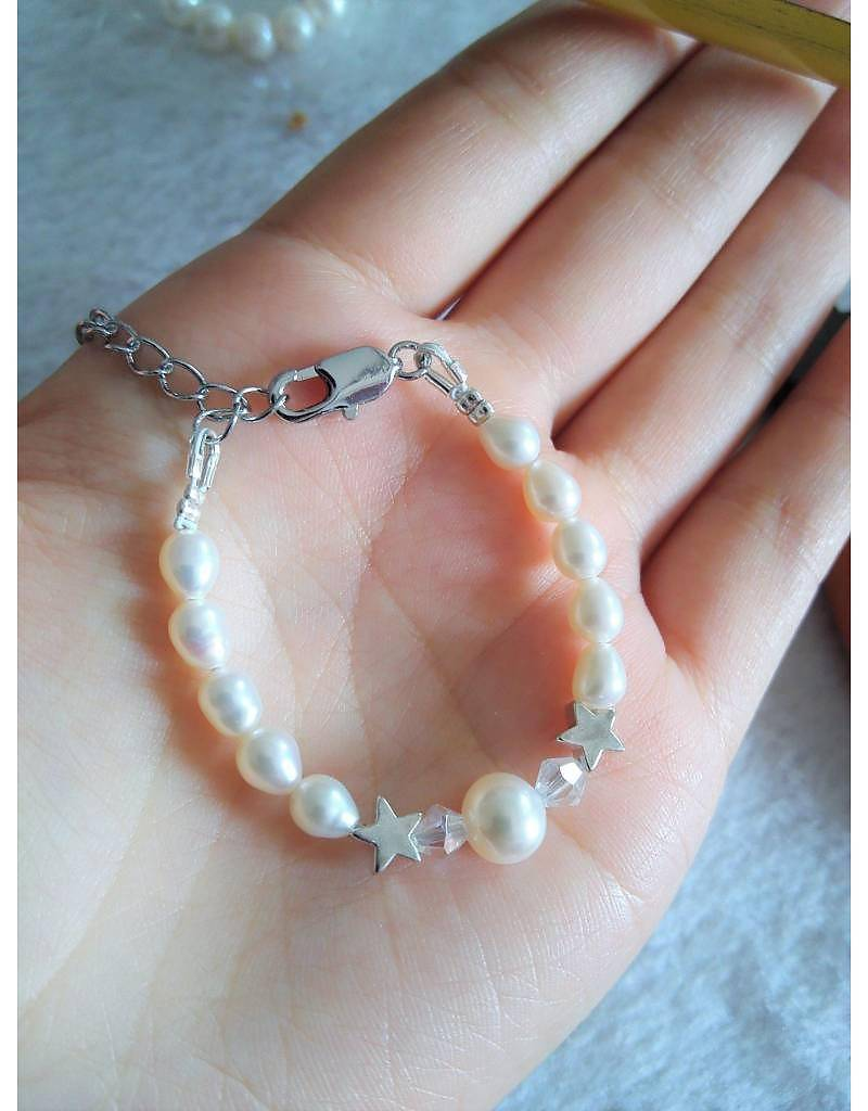 Engraved jewellery Mother daughter set 'Mermaid Pearl'