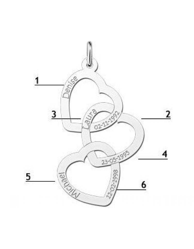 "KAYA jewellery Names4ever Silver necklace ""Three or Six Kids'"