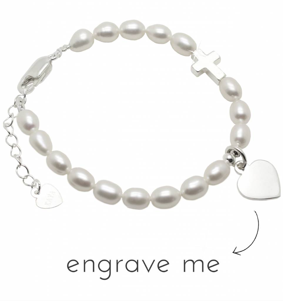 Engraved jewellery Silver bracelet 'Cute Balls' with Cross & Engraved Charm