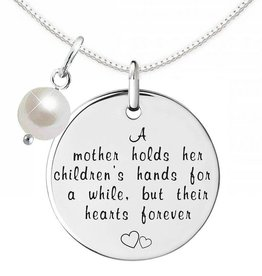 """Engraved jewellery Names4ever Silver Necklace + Pearl """"A Mother holds her children's hands'"""