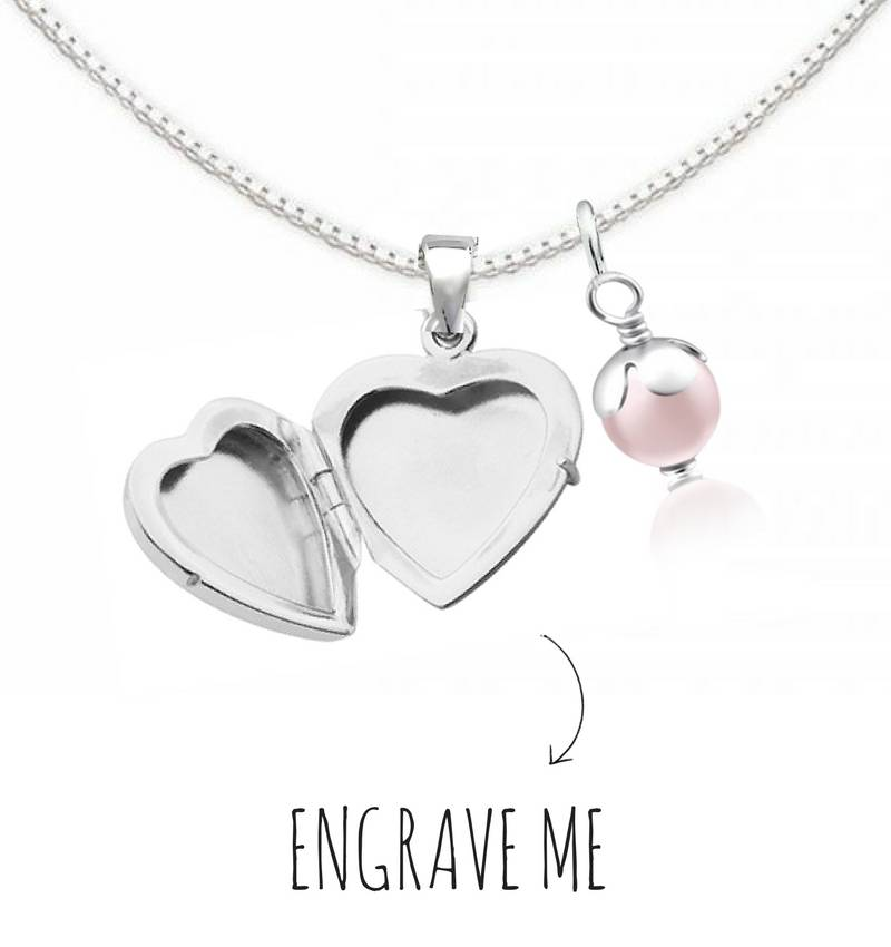 Engraved jewellery Locket necklace with engraving 'Little Secret'