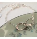 Engraved jewellery Silver Bracelet Set 'Infinity & Pearl'